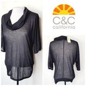 NWT C&C CALIFORNIA Lightweight Cowl Neck Silk Top